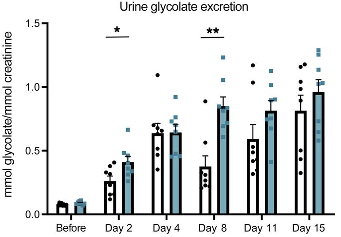 Urine glycolate excretion was increased by a hydroxyproline-enriched die...