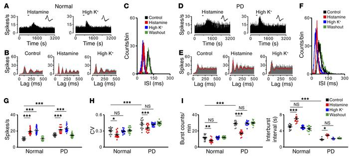The histamine-induced regularization of firing patterns of STN neurons i...